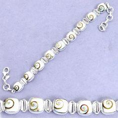31.66cts natural white shiva eye 925 sterling silver tennis bracelet p20879