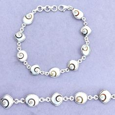 19.55cts natural white shiva eye 925 sterling silver tennis bracelet p22403