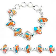 Multi color spiny oyster arizona turquoise 925 silver tennis bracelet p23463