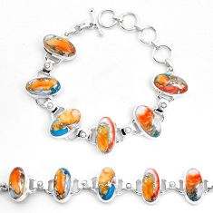 Multi color spiny oyster arizona turquoise 925 silver tennis bracelet p23464