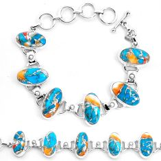 925 silver multi color spiny oyster arizona turquoise tennis bracelet p23470