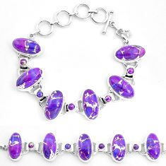 63.86cts purple copper turquoise 925 sterling silver bracelet jewelry p23471