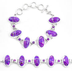 925 sterling silver 60.31cts purple copper turquoise bracelet jewelry p23480