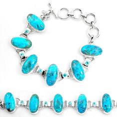 65.57cts natural green chrysocolla topaz 925 silver tennis bracelet p23481