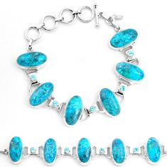 66.53cts natural green chrysocolla topaz 925 silver tennis bracelet p23488