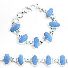 70.23cts natural blue angelite topaz 925 sterling silver tennis bracelet p23496