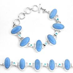 925 sterling silver 68.04cts natural blue angelite topaz tennis bracelet p23498