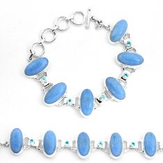 68.20cts natural blue angelite topaz 925 sterling silver tennis bracelet p23500