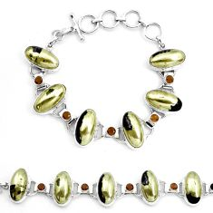 79.07cts natural golden pyrite in magnetite 925 silver tennis bracelet p23502
