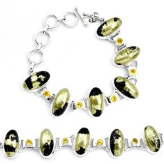 76.49cts natural golden pyrite in magnetite 925 silver tennis bracelet p23503