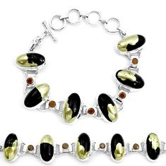 76.49cts natural golden pyrite in magnetite 925 silver tennis bracelet p23504