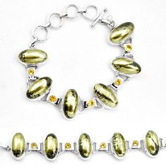 75.97cts natural golden pyrite in magnetite 925 silver tennis bracelet p23506