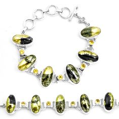 75.89cts natural golden pyrite in magnetite 925 silver tennis bracelet p23507