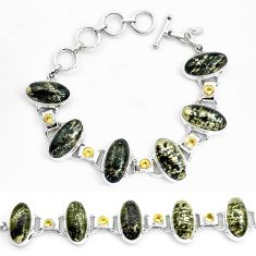 74.39cts natural golden pyrite in magnetite 925 silver tennis bracelet p23508