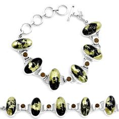 76.00cts natural golden pyrite in magnetite 925 silver tennis bracelet p23509