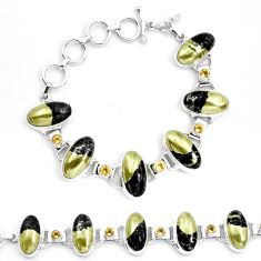 76.47cts natural golden pyrite in magnetite 925 silver tennis bracelet p23510