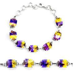 36.10cts multi color ametrine (lab) 925 sterling silver tennis bracelet p23521