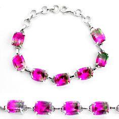 38.26cts watermelon tourmaline (lab) 925 sterling silver tennis bracelet p23530