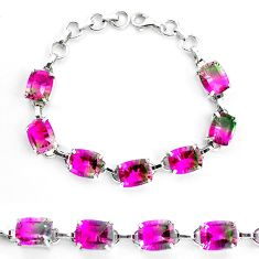 925 sterling silver 38.83cts watermelon tourmaline (lab) tennis bracelet p23533