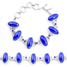 70.77cts natural blue lapis lazuli 925 sterling silver tennis bracelet p23534