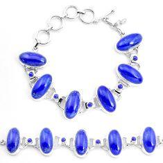 69.08cts natural blue lapis lazuli 925 sterling silver tennis bracelet p23536