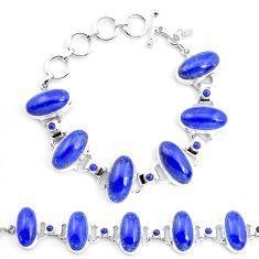 69.73cts natural blue lapis lazuli 925 sterling silver tennis bracelet p23537