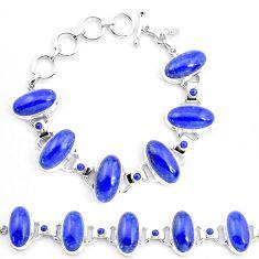 70.25cts natural blue lapis lazuli 925 sterling silver tennis bracelet p23538