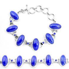 925 sterling silver 69.11cts natural blue lapis lazuli tennis bracelet p23539