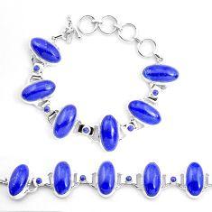 71.11cts natural blue lapis lazuli 925 sterling silver tennis bracelet p23540