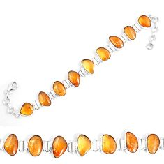49.40cts natural yellow citrine 925 sterling silver tennis bracelet p7442