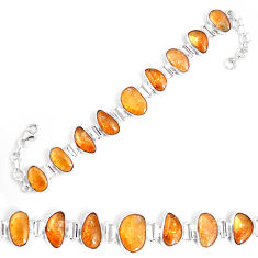 51.53cts natural yellow citrine 925 sterling silver tennis bracelet p7443