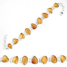 51.91cts natural yellow citrine 925 sterling silver tennis bracelet p7446