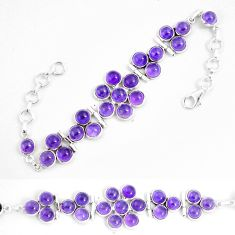 28.70cts natural purple amethyst 925 sterling silver tennis bracelet p7471