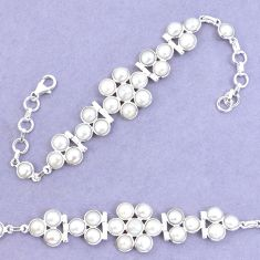 925 sterling silver 26.72cts natural white pearl tennis bracelet p7480