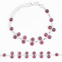 22.68cts natural red garnet 925 sterling silver tennis bracelet jewelry p7483