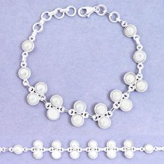 925 sterling silver 24.10cts natural white pearl tennis bracelet p7499