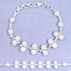 22.29cts natural white pearl 925 sterling silver tennis bracelet jewelry p7500
