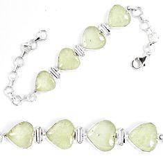 36.23cts natural libyan desert glass (gold tektite) silver tennis bracelet p8491