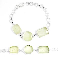 925 silver 36.72cts natural libyan desert glass tennis bracelet jewelry p8493