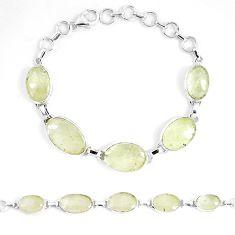 Natural libyan desert glass (gold tektite) 925 silver tennis bracelet p8495
