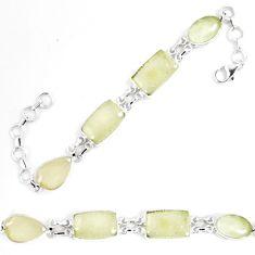 Natural libyan desert glass (gold tektite) 925 silver tennis bracelet p8499