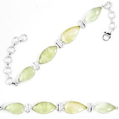 Natural libyan desert glass (gold tektite) 925 silver tennis bracelet p8500
