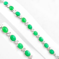 37.43cts natural green chalcedony 925 sterling silver tennis bracelet p86461