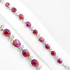 38.46cts natural purple cacoxenite super seven 925 silver tennis bracelet p86462