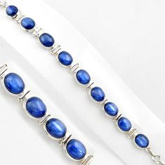 40.73cts natural blue kyanite 925 sterling silver tennis bracelet p86463