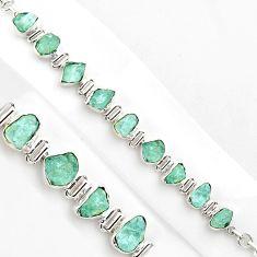 925 silver 37.43cts natural aqua aquamarine rough fancy tennis bracelet p86464