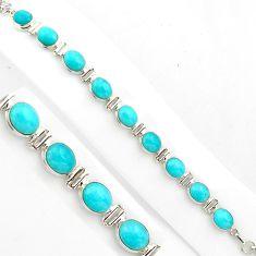 38.46cts natural green peruvian amazonite 925 silver tennis bracelet p86465