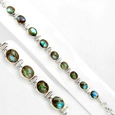 40.36cts natural blue labradorite 925 sterling silver tennis bracelet p86477