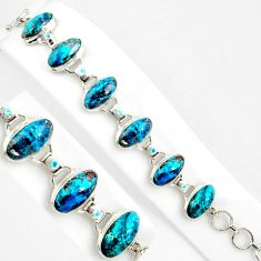 925 silver 61.73cts natural blue shattuckite topaz tennis bracelet p86478