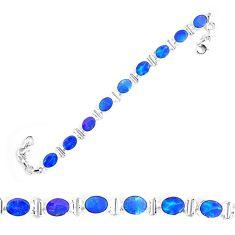 24.60cts natural blue doublet opal australian 925 silver tennis bracelet p9003
